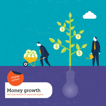 Money Plant grows with ideas.  Global colors. Text and Texture in separate layers. Vector
