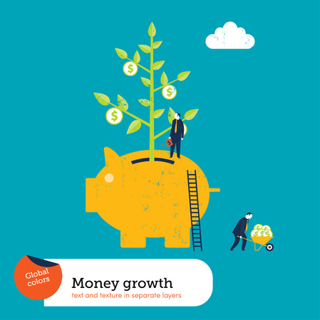 Money Plant in a Piggy Bank.  Global colors. Text and Texture in separate layers. Vector