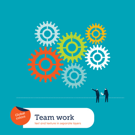 Gear Teamwork.  Global colors. Text and Texture in separate layers. Illustration