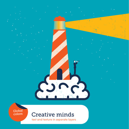 Vector brain with lighthouse. Global colors. Text and Texture in separate layers.