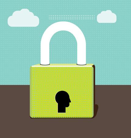 padlock: A padlock with a human head as lock.