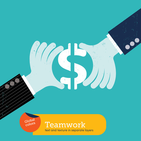 Team working hand with dollar sign.  Global colors. Text and Texture in separate layers. Vector