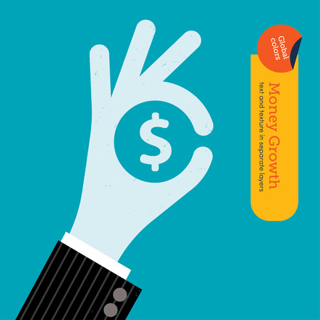 Ok hand with dollar sign. Global colors. Text and Texture in separate layers. Vector