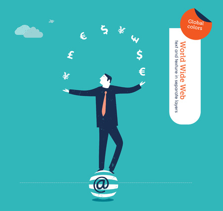 classified ad: juggler with currency signs Illustration