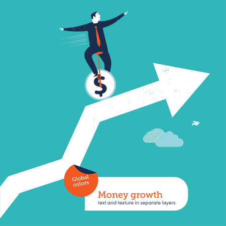business risk: juggler with unicycle on a chart Illustration