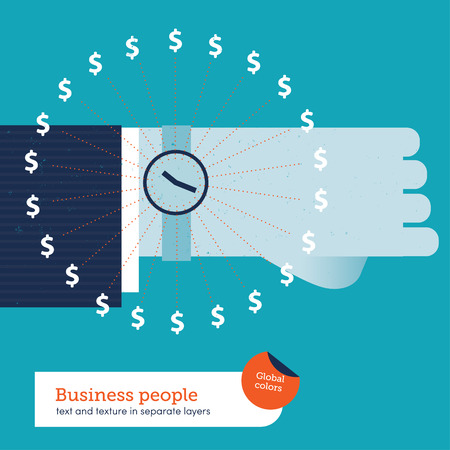 quantities: Vector businessman around the clock with money signs