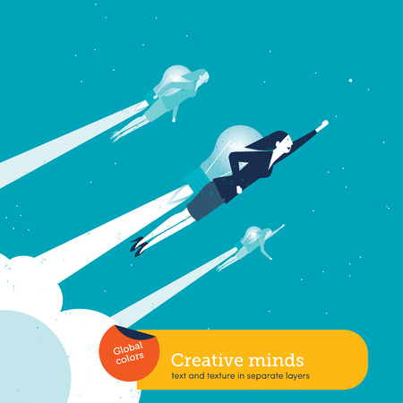 growth opportunity: Vector women with a bulb rocket Illustration