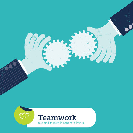 business partnership: Vector two hands with gears
