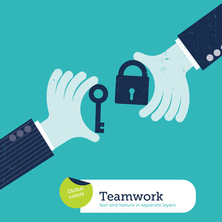 key to success: Vector two hands with padlock and key