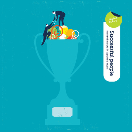 creativity concept: Vector trophy with bulbs and men