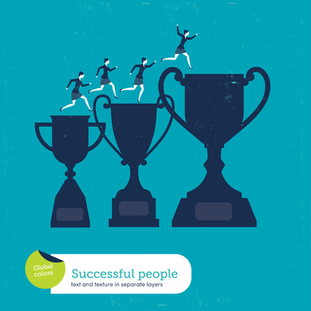 corporate people: number 1,award,victory,businesswoman,business,trophy,businessman,vector,cartoon,expertise,celebration,goal,achievement,cup,joy,concepts,happiness,pride,medalist,corporate business,world title,people,cheerful,professional sport,business person,professional
