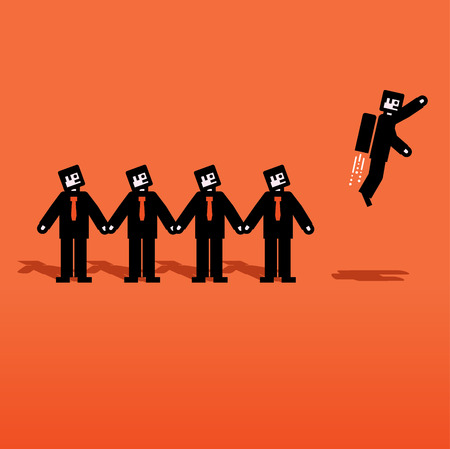 thinking out of the box: Vector people chain with one flying Illustration