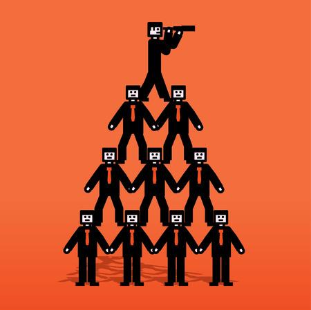 medium group of people: Human pyramid with spyglass on top Illustration