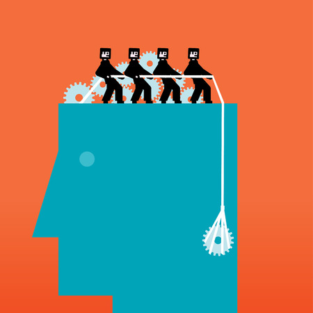 employment issues: People on  head pulling a rope with a gear Illustration