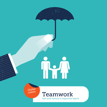 mortgage: Vector hand protecting a family with an umbrella