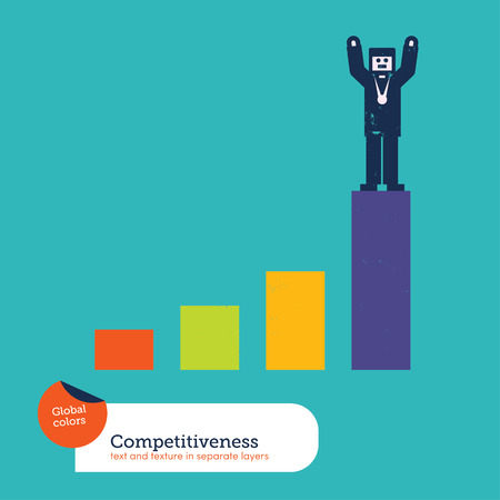 conquering adversity: Vector winner on a a chart Illustration