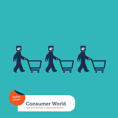 consumer society: Vector men chain with shopping caddies Illustration