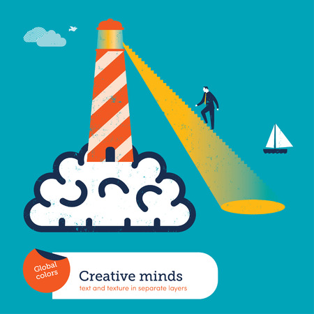 Lighthouse on a brain with stairs Vector