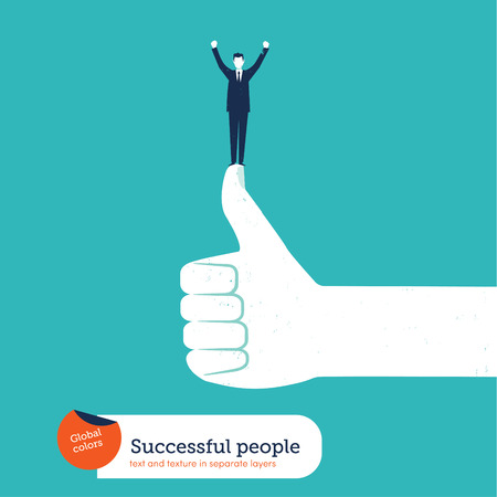 ok hand with successful businessman Vector