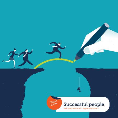 estrategia: Gr�fico de la mano de un puente sobre un abismo para empresarios Vectores