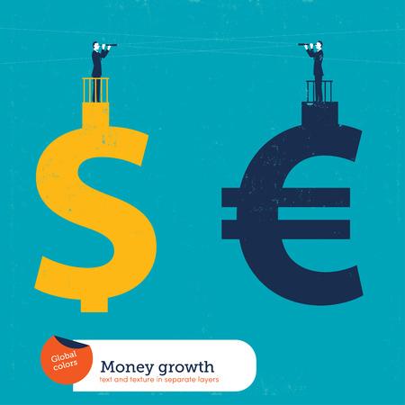 dolar: Hombres de negocios en una muestra del dinero con un catalejo