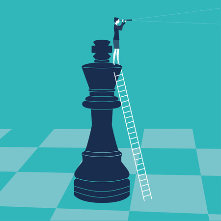 executive search: Businesswoman on a chess piece
