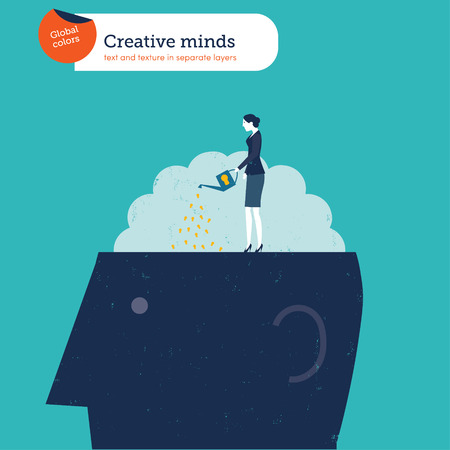 classified ad: Businesswoman watering a brain Illustration