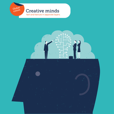 impart: Man explaining the brain to a group