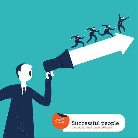 positivism: Motivator man with arrow and group of people Illustration
