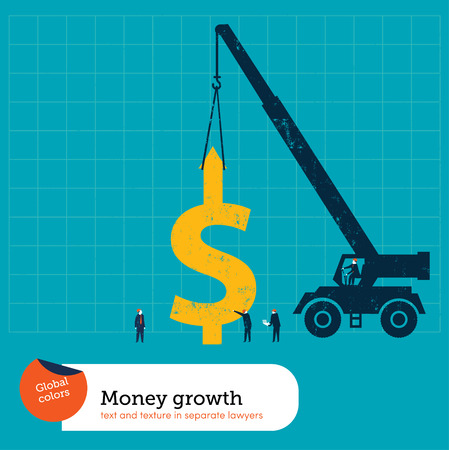 Crane lifting a money sign. Vector illustration Eps10 file. Global colors. Text and Texture in separate layers. Çizim