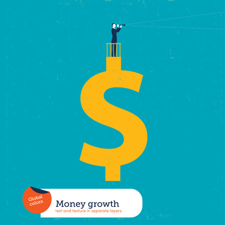 forefront: Businessman on a money sign with a spyglass. Vector illustration Eps10 file. Global colors. Text and Texture in separate layers.