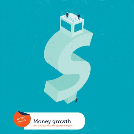 conquering adversity: Edificio de la muestra del dinero. Ilustraci�n del vector. Mundial de colores. Texto y textura en capas separadas.