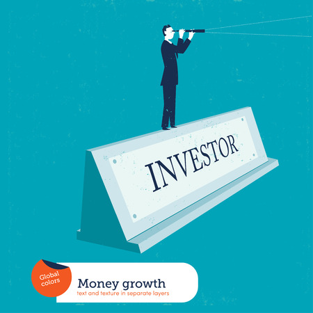 investor: Businesswoman on a name plate investor. Vector illustration. Global colors. Text and Texture in separate layers. Illustration