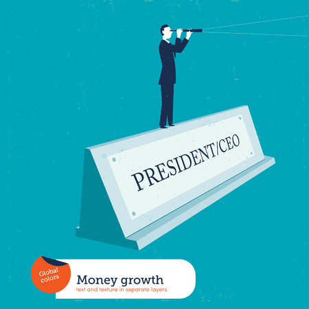looking through an object: Businessman on a name plate president. Vector illustration. Global colors. Text and Texture in separate layers.