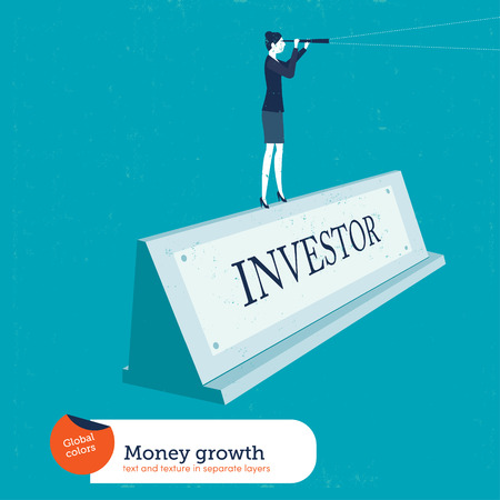 Businesswoman on a name plate investor. Vector illustration. Global colors. Text and Texture in separate layers. Illustration