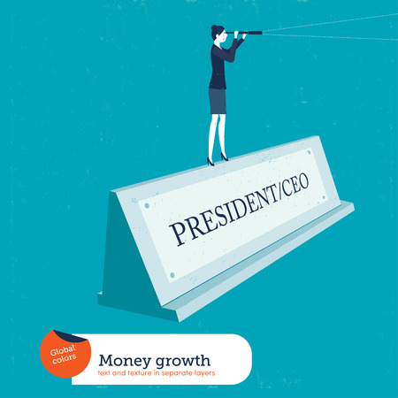 peek: Businesswoman on a name plate president. Vector illustration. Global colors. Text and Texture in separate layers. Illustration