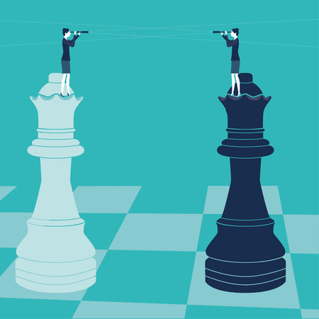 anticipate: Businesswomen on chess pieces withs spyglass. Vector illustration. Created with adobe illustrator.