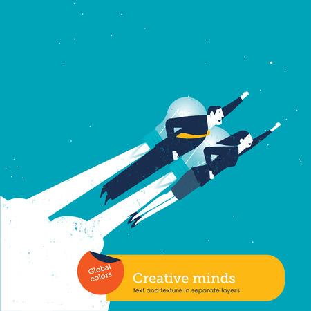 Homme d'affaires et femme d'affaires avec une fusée de l'ampoule. Vector illustration de fichier Eps10. Couleurs globales. Texte et Texture dans des couches distinctes.