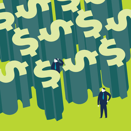 man confused: Two businessman in a money labyrinth. Vector illustration. Created with adobe illustrator. Illustration