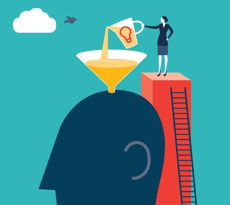 genuine good: Businesswoman putting ideas in a brain. Vector illustration. Created with adobe illustrator. Illustration