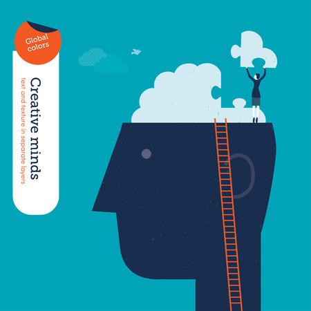 mercadotecnia: Empresaria en la pista con rompecabezas del cerebro. Ilustración del vector EPS10 archivo. Mundial de colores. Texto y textura en capas separadas.