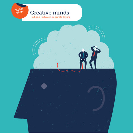 Businessmen on top of a head inflating a brain. Vector illustration. Global colors. Text and Texture in separate layers. Vector