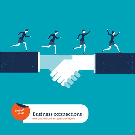 people development: Businesswomen running on a handshake. Vector illustration. Global colors. Text and Texture in separate layers. Illustration