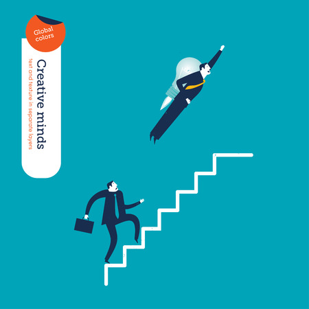 speed: Businessman with a rocket and businessman going up the stairs. Vector illustration. Global colors. Text and Texture in separate layers.
