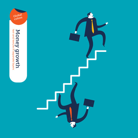 Businessman going up the stairs businessman going down the stairs. Vector illustration. Global colors. Text and Texture in separate layers. Vector
