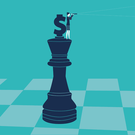 Businesswoman on a chess piece with money sign looking through a spyglass. Vector illustration. Created with adobe illustrator.