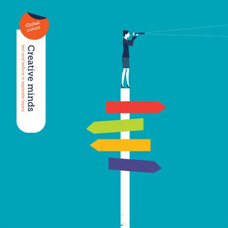 jornada de trabajo: Empresaria con el catalejo en una señal de cruce. Ilustración del vector. Mundial de colores. Texto y textura en capas separadas.