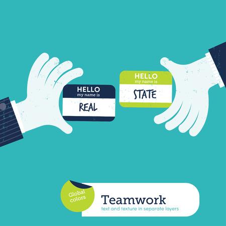 investment real state: Dos manos el intercambio de tarjetas de visita con mi tarjeta de presentaci�n es el estado real. Ilustraci�n del vector. Mundial de colores. Texto y Textura en laico independiente Vectores