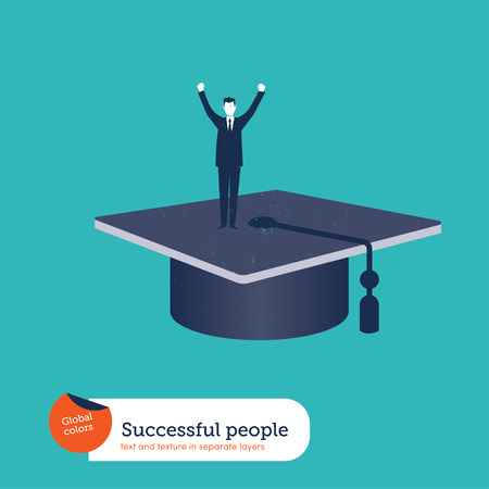 Successful businessman on top of a mortarboard. Vector illustration. Global colors. Text and Texture in separate layers.