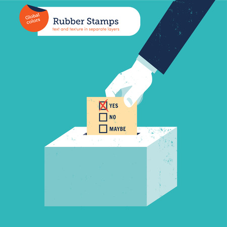 Hand of a businessman putting a yes voting ballot in a slot ballot box. Vector illustration. Global colors. Text and Texture in separate layers. Vector